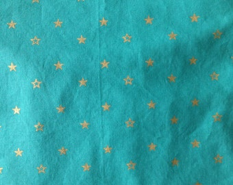Baby Crib Sheet or Toddler Bed Sheet - Teal with Gold Stars