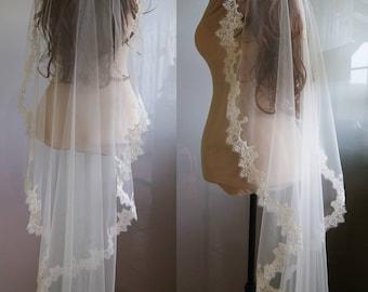 Wedding Veil of Alencon Lace, romantic style. NENA