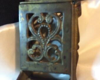 Vintage Brass Metal  Ornate MATCH STICK HOLDER