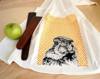 Marmot Dish Towel, Screen Printed Flour Sack Towel, Tea Towel