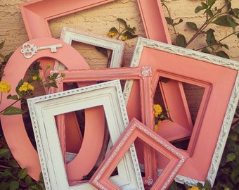 Set of coral vintage shabby chic open photo frames