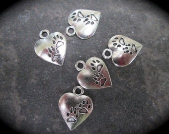 Paw print in Heart Charms with two paw prints  Dog Cat Pet Charms Antique Silver Finish package of 5 charms Pet Paw charms