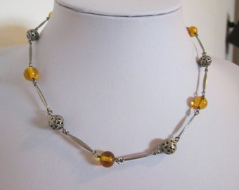 Amber Glass & Silver Tone Bead Necklace