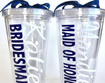 Set of 2 Bridesmaid and Maid of Honor Personalized Tumblers - Personalized Bridal party gifts - 16 oz Tumbler