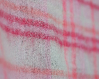 Pink orange plaid wool and mohair fabric / thin wool vintage plaid pattern