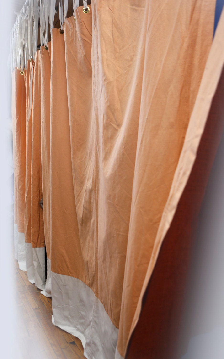 Peach Color Linen Curtain Panel Thick Heavy Weight High
