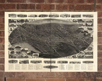 Winsted Connecticut Vintage Print Poster Map 1908 Poster of CT Map Art Wall Decor