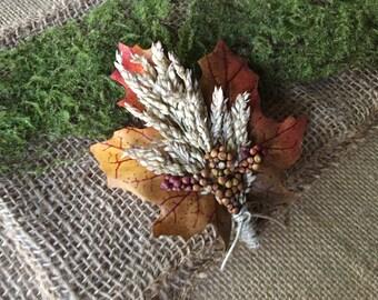 Boutonnière/ fall boutonnière/ Autumn boutonnière/ rustic boutonnière/ woodland boutonnière/ Thanksgiving boutonnière/ rustic buttonhole