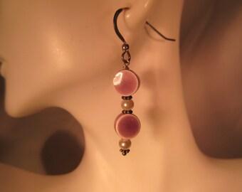 Unique Sterling Silver Pearl & Lavender Drop Earrings