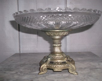 Compote dish  Beautiful glass and bronzed metal DEPOSE centrepiece dish French vintage compote dish