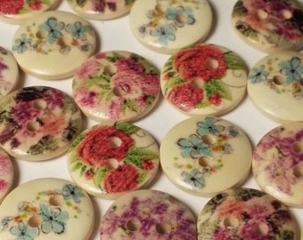50pcs Assorted Flower Buttons - Wooden Buttons - 13mm - 2 Hole - Sewing Buttons - Scrapbook Supplies - Decorative Buttons - B3258H