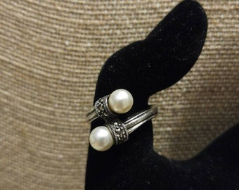 Pearl and Marcasite Sterling Silver Ring NBJ110 Marcasite Ring