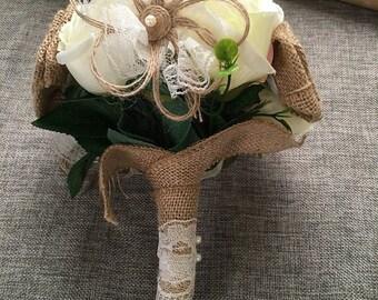 Handmade Flowers Burlap Bouquet Burlap Bouquet Wedding Bride Bridesmaid Bouquet