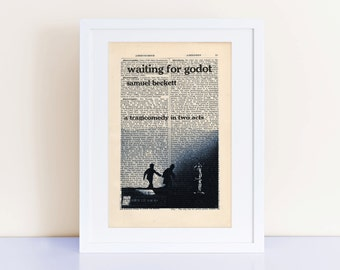Waiting for Godot by Samuel Beckett Print on an antique page, book cover art