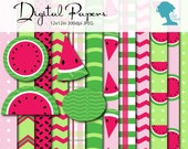 Watermelon Digital Scrapbooking Paper Pack, Buy 2 Get 1 FREE. Instant Download. With Bonus Watermelon Clip Art.