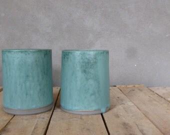 Turquoise vase stoneware 1 piece-1 pc stoneware vase