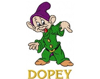 Dopey Embroidery Design in 3 Sizes - Instant Download