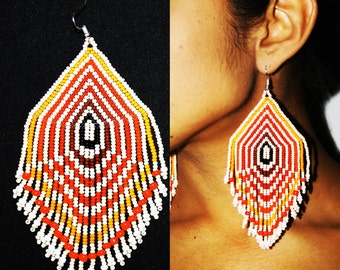 Geometric Earrings, Native American Beaded Earrings, Beaded Tribal Earrings, Huichol Beadwork, Huichol Earrings, Native Chandelier Earrings