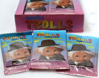 3 Packs of Vintage Norfin Trolls Trading Cards 80's 90's Troll