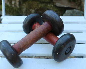 Pair of Original French Vintage Dumbbells.  1.5kg x2. French Vintage Shabby chic.