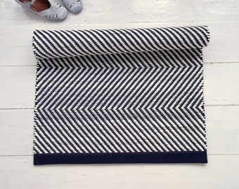 Navy Blue and White Rug, Geometrical Rug, Scandinavian Rug, Zigzag Rug, Handmade, Washable, Woven on the Loom, Made to Order