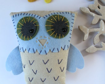 OOAK Hand Embroidered Owl Plush