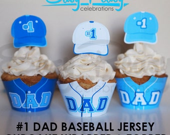 Baseball Jersey Father's Day Cupcake Wrappers and Toppers