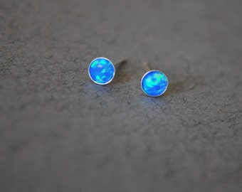 Opal stud. Opal earrings. Opal stud earrings. October birthstone. Opal stud White. Opal stud Blue. Small Opal studs. gift girlfriend earring