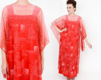 70s Red Caftan | Red Print Maxi Dress |  One Size