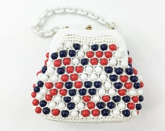 50s Beaded Purse | Red White Blue Purse | Beaded & Straw Crochet | Bag by Donna | Made in Japan