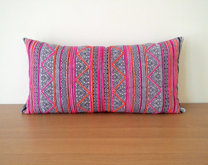 Neon Indigo Lumbar Vintage Batik Hmong Hand Stamped Cotton Pillow Cover, Hilltribe Cotton Cushion Cover, Tribal Boho Throw Pillow Case