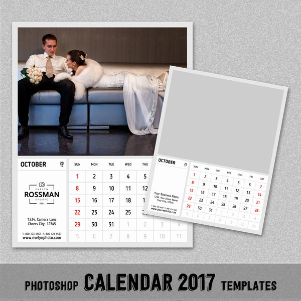 2017 Monthly Calendar PSD Template 8x10 by FabulousScrap on Etsy