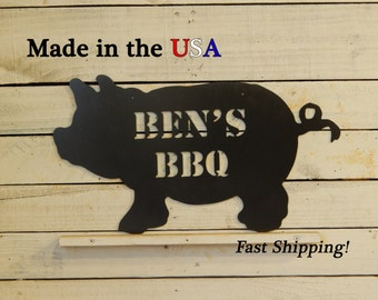 Customized BBQ Pig Metal Sign, Metal Art, Pig Decor, Metal Sign, Indoor Sign, Grill Decor, Kitchen, Lawn Decor, Country, Fathers Day, S1034