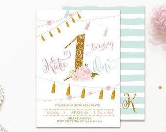 Girls First Birthday Invitation Pink and Gold Glitter Shabby Chic Floral Flowers- digital invite customizable DIY printable