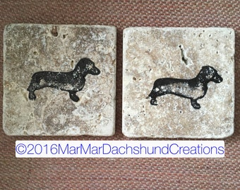 Hand painted Travertine Doxie Dachshund rustic tile