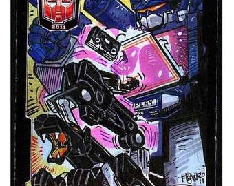 2011 BotCon Soundwave & Ravage Sketch Card Transformers 1980s TV Cartoons Robots Unique Gift Card