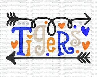SVG, DXF, EPS Cut file, Tigers fun arrows svg,  socuteappliques, SvG Sayings, football svg, football sister svg, football mom svg
