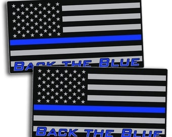 Back The Blue USA Flag Support Police - Blue Line Sticker Decal US 2nd Amendment Gun Law Enforcement Lives Matter Sheriff USA America