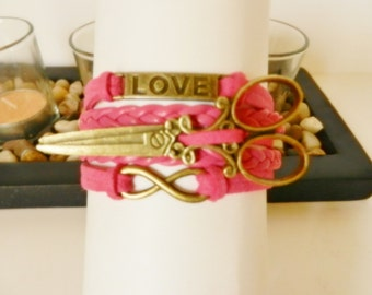 HAIR STYLIST Hair Dresser Beauty Salon Scissors Women's Jewelry Infinity Love Adjustable Pink Bracelet