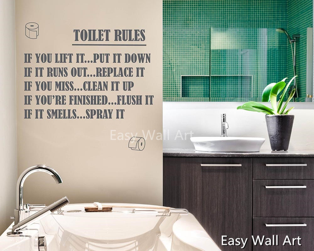Toilet Rules Quote Decal Washroom Wall Sticker Toilet Rules - How do you put up wall art stickers