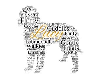 personalised labradoodle old english sheepdog pointer pomeranian rhodesian ridgeback word art keepsake
