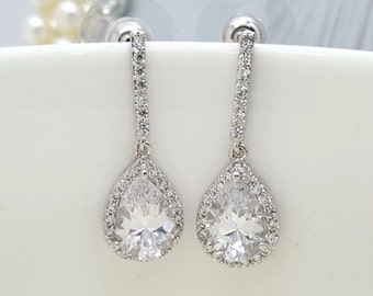 Set of 6, Four Earrings, AAA Cubic Zirconia Tear Drop Wedding bridal Earrings, CZ bridesmaid earrings gifts