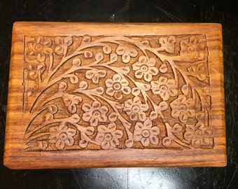 floral carved wooden box 6 x 4 gift box decorative box - Decorative Wooden Boxes