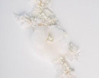 VALENTINA bridal headpiece, lace headpiece, silk flower, handbeaded, luxury lace, pearl