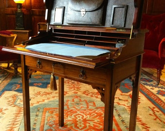 Quality Antique Desk Fitted Interior Writing Table Mahogany Early 20th Century