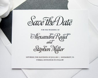 Black and White Save the Date - Save the Date Card, Elegant Save the Dates, Simple, Formal Save the Dates - DEPOSIT