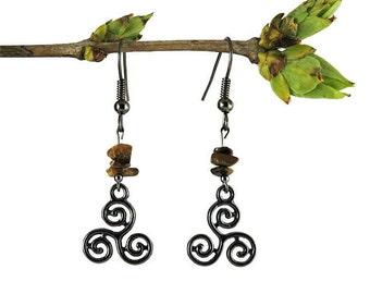 Gunmetal earrings, tiger eye jewelry, celtic triskele earrings, dangle earrings handmade, gemstone earrings, handmade jewelry gemstone trisk