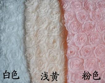 "Lace Fabric Tulle 3D Pink Ivory Yellow Black Rose Bridal Wedding Fabric Headband Fabric 51.1"" width 1 yard"