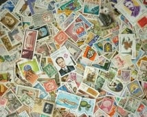 60 stamps used around the world, philately, collage, scrapbooking, mixed art, collage