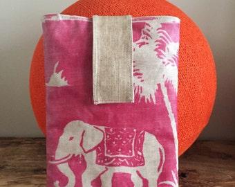 "Pocket plush for Matt coated linen ""mandir"" pink shelf."